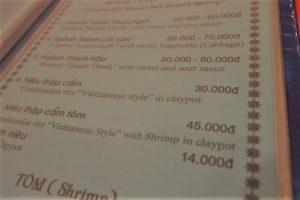 ダナンローカルレストランのメニュー